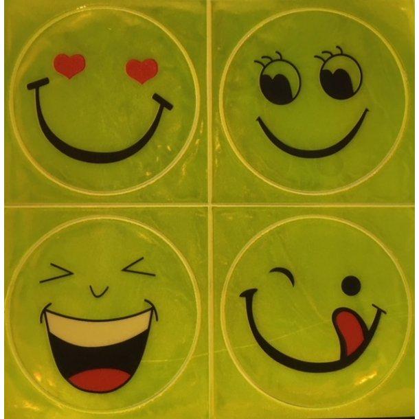 Store smiley reflekser stickers. Emoji Ark med klistremærker med refleks. Sæt på skoletaske eller cykel