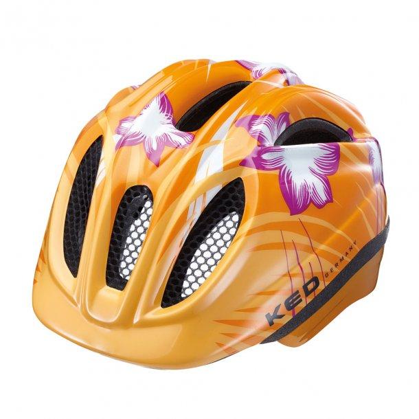 Børnecykelhjelm orange blomst. CE godkendt